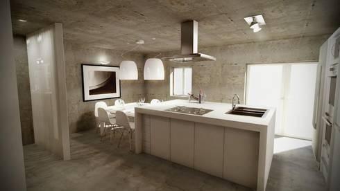 Open Space: Cozinhas industriais por Santiago   Interior Design Studio