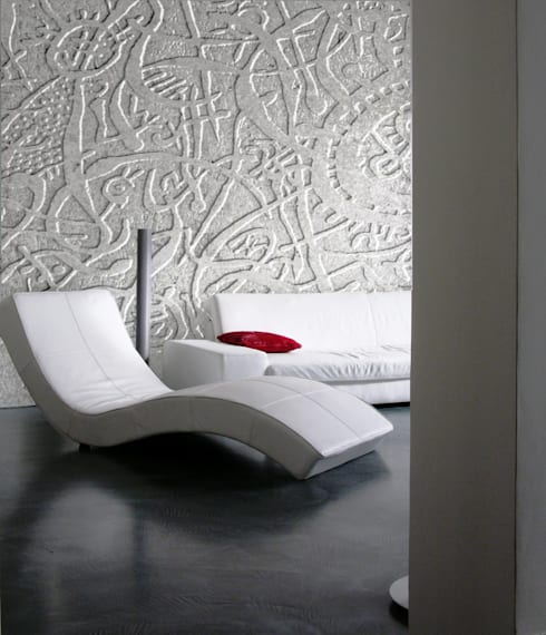 Parete d'arte in pietra: Soggiorno in stile in stile Moderno di CARVED STONES
