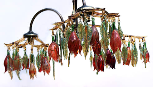 Glass chandelier with flowers and leaves - Red: modern Corridor, hallway & stairs by A Flame with Desire