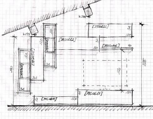 Lo schizzo su foglio a quadretti dal quale è nato il mobile soggiorno:  in stile  di ARREDACASAOnLine