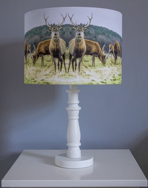 Stag Lampshade: country Living room by Lomas & Lomas