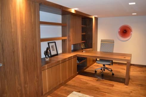 Casa en El Pedregal: Estudios y oficinas de estilo moderno por Revah Arqs