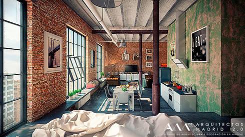 Proyecto y Reforma de Loft en Madrid: Estudios y despachos de estilo industrial de Arquitectos Madrid 2.0
