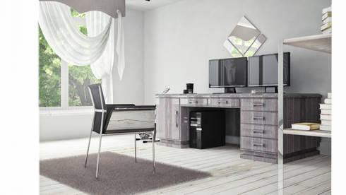 View_02_Desk: Camera da letto in stile in stile Minimalista di V Multimedia
