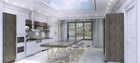 Kitchen design and 3D visual: modern Kitchen by Outsourcing Interior Design