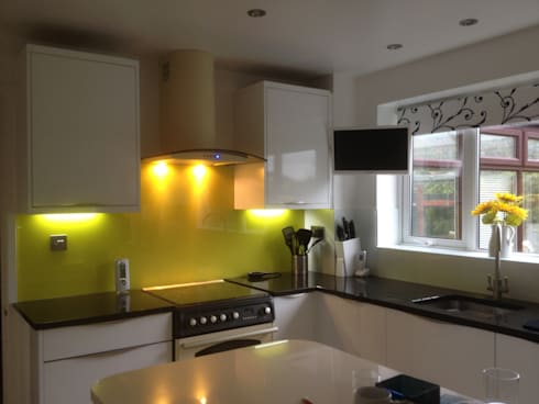 kitchen with yellow glass splashback kitchen by henley mckay kitchens