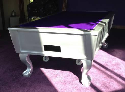 8ft English pool table:  Multimedia room by John Bennett (Billiards) Ltd