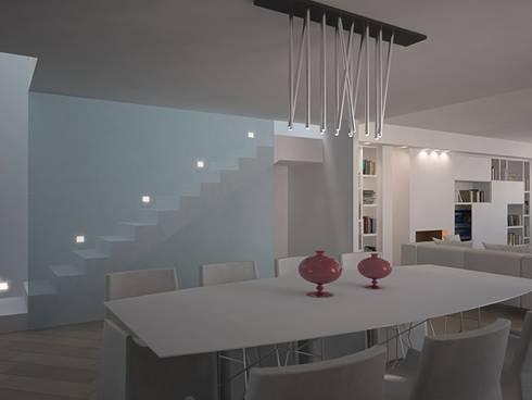 LIGHT – Living VILLA GFL – : Soggiorno in stile in stile Minimalista di Studio Frasson