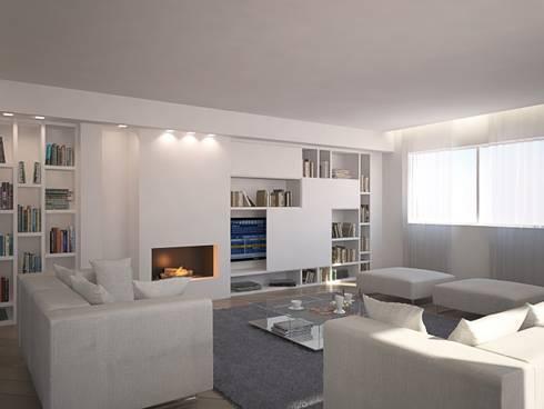 LIGHT - Living VILLA GFL - : Soggiorno in stile in stile Minimalista di Studio Frasson