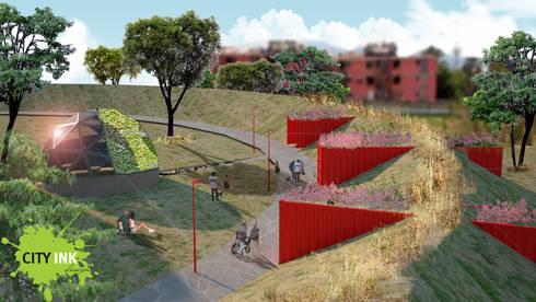 Andador y zona de acopio y domo: Jardines de estilo industrial por City Ink Design