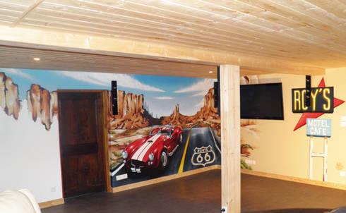 D coration salon th me route 66 par popek d coration homify for Theme deco salon