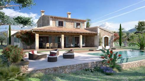 Perspectiva 3D - Casa rustica : Casas de estilo rústico de Realistic-design