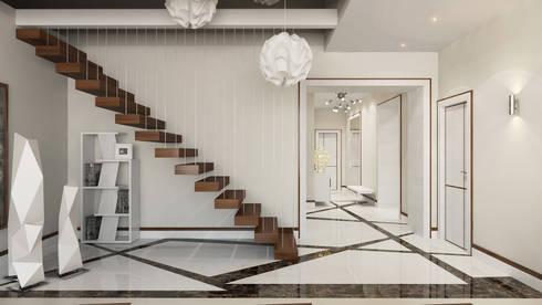 Холл и лестница: Коридор и прихожая в . Автор – Студия Искандарова