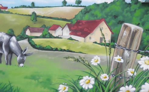 Trompe l 39 oeil paysage bucolique par popek d coration homify for Ane decoration jardin