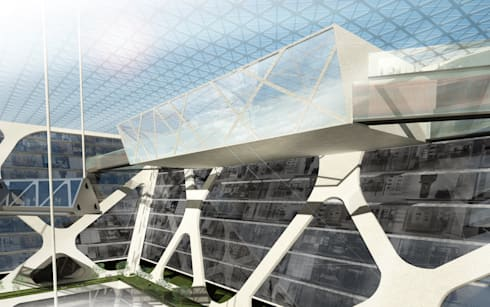 Zocalo : Salones de conferencias de estilo  por BNKR Arquitectura