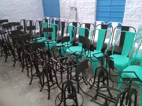 Tolix Chair: industrial Dining room by Vinayak Art Inc.