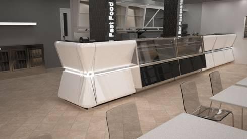 rendering arredamento ristorante: Negozi & Locali Commerciali in stile  di Designer1995  Live Work Design