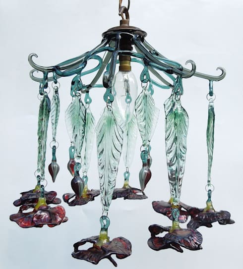 Poppy glass chandelier shade: modern Corridor, hallway & stairs by A Flame with Desire