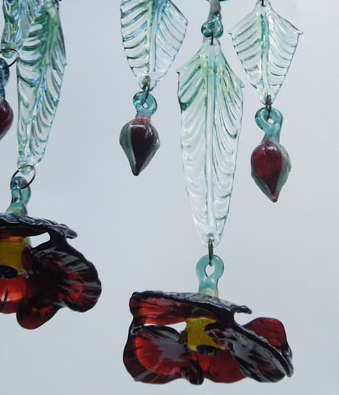 Poppy glass chandelier shade - detail: modern Corridor, hallway & stairs by A Flame with Desire