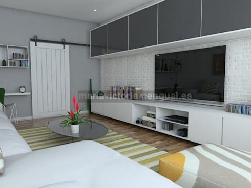 Salón para soltero/a, divorciado/a: Salones de estilo ecléctico de MUMARQ ARQUITECTURA E INTERIORISMO