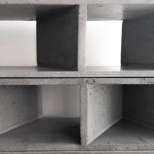 Librero Sean: Estudios y oficinas de estilo moderno por MDC MUEBLES DE CONCRETO