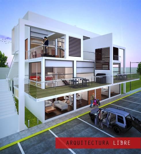 Perspectiva exterior: Casas de estilo moderno por Arquitectura Libre
