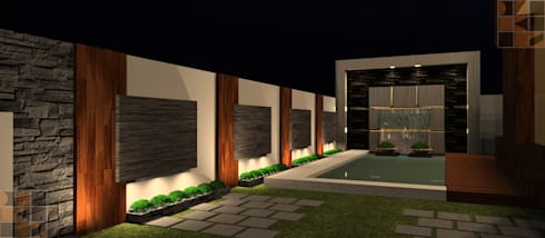 House for 3 brothers: rustic Houses by D-SiGN KSTUDIO™ PVT LTD ARCHITECTS + INTERIORS + LANDSCAPING