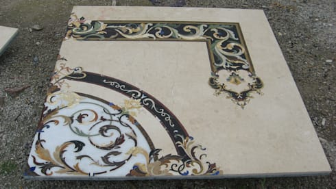 Marble and Semiprecious Stone Floor Inlay:  Artwork by Crafts Indica