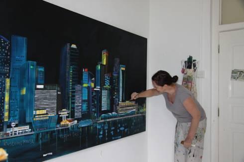Singapore Skyline:  Artwork by Clare Haxby Art Studio