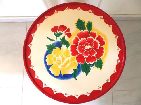 Enamel tray table:   by Art From Junk Pte Ltd