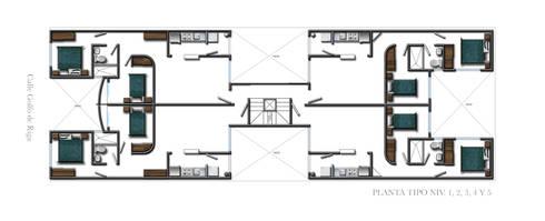 Planta tipo : Casas de estilo moderno por RECON Arquitectura