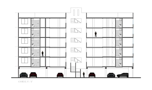 Corte Longitudinal : Casas de estilo moderno por RECON Arquitectura