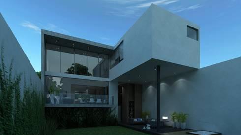 Fachada posterior: Casas de estilo moderno por TaAG Arquitectura