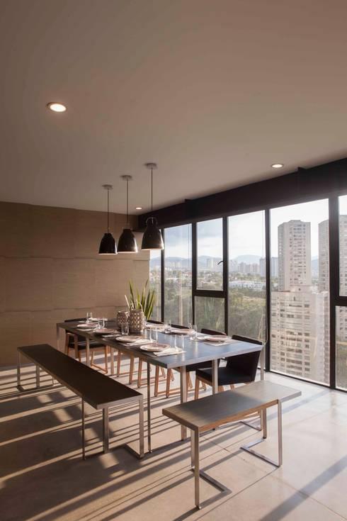 Departamento contemporáneo en Bosques de las Lomas: Comedores de estilo moderno por Taller David Dana Arquitectura