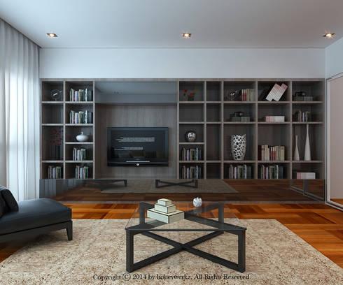 Semi-Detached House at Redang Villa, Malaysia: minimalistic Living room by Honeywerkz