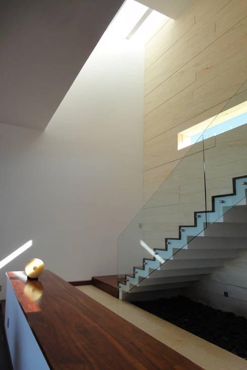 Casa DV: Pasillos y recibidores de estilo  por ze|arquitectura