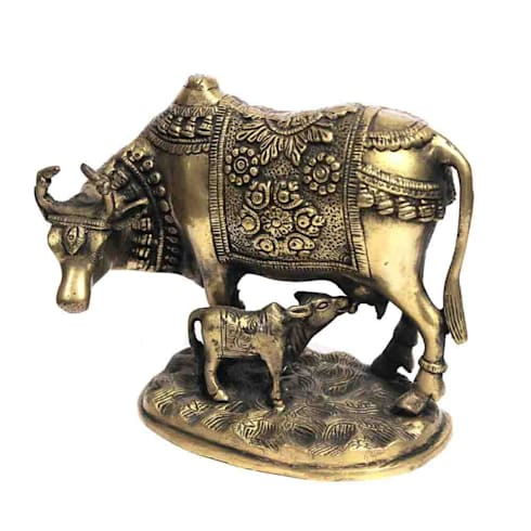 Kamdhenu Cow & Calf Statue /Sacred Wish Fulfilling Cow/ Symbol Of Good Luck Prosperity and Love/ Antique Finish Brass Sculpture/ Auspicious Gifts:  Artwork by M4design