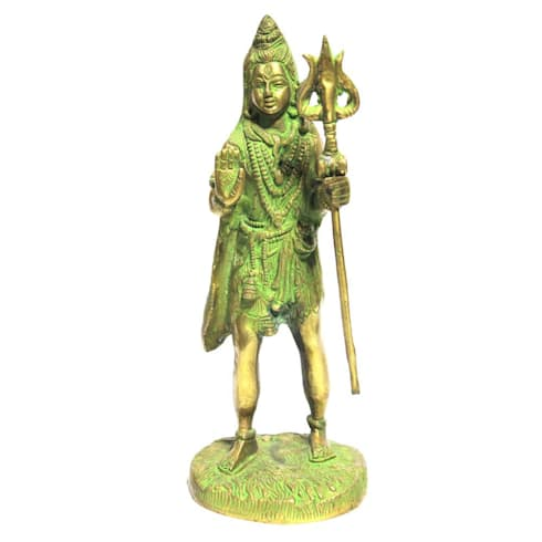 Green Patina Finish Brass Shiva Statue -Hindu Trinity God of Protection / Destroyer of Evil/ Holy Sculpture / Religious Idol:  Artwork by M4design