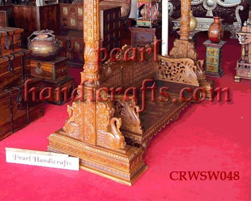 hand carved teak swing: asian Living room by Pearl Handicrafts