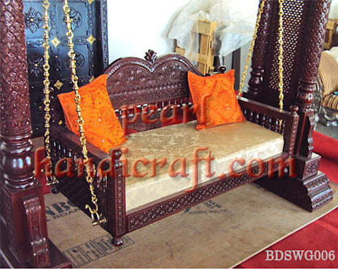 Heavy carved swing: asian Living room by Pearl Handicrafts