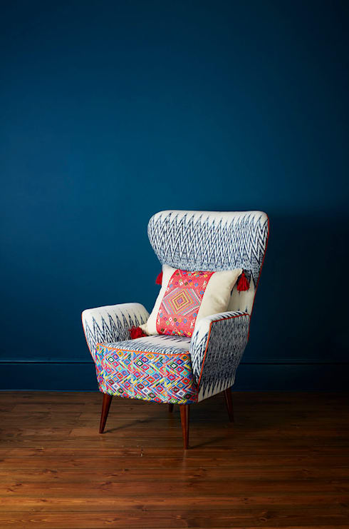 Caterina Ikat Wing Chair: eclectic Living room by A Rum Fellow