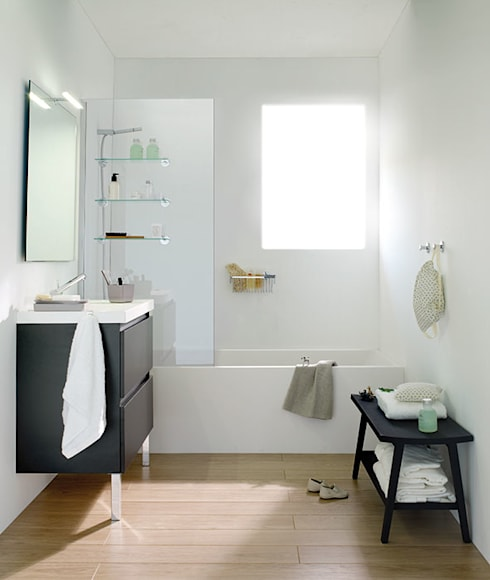 Mueble Antracita con lavabo de resina con dos cajones 100cm x 45cm de profundidad x 69cm altura.: Baños de estilo  de Sánchez Plá