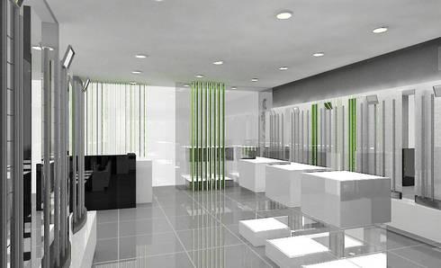Concepto para tienda de gafas de sol: Espacios comerciales de estilo  de AG INTERIORISMO