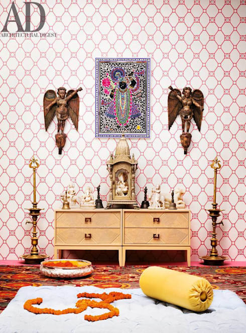 A beautiful Ikat rug in a prayer room:  Artwork by Cocoon Fine Rugs