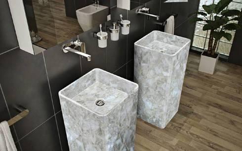 White Quartz Basins: modern Bathroom by Stonesmiths - Redefining Stone-Age