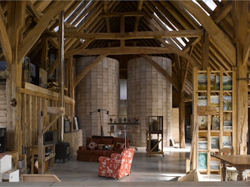 Feering Bury Farm Barn : eclectic Living room by Hudson Architects