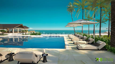 Hotel Pool Exterior Design Rendering:  Artwork by Yantram Architectural Design Studio