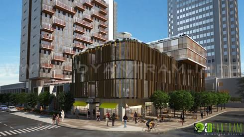 3D Commercial Architectural Exterior Design Rendering:  Artwork by Yantram Architectural Design Studio