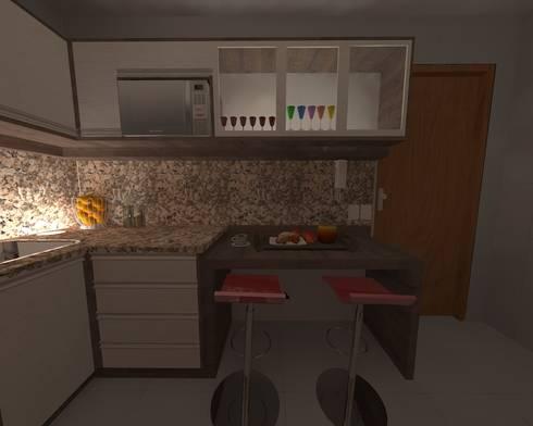Cozinha Compacta: Cozinhas modernas por Elaine Medeiros Borges design de interiores