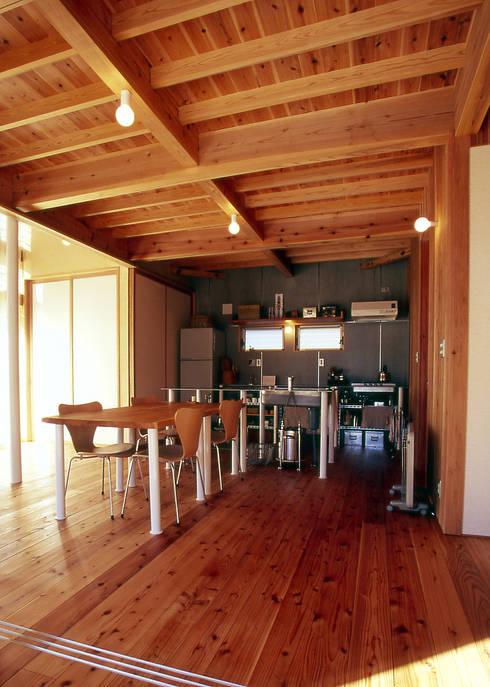 木のリビング: 稲吉建築企画室が手掛けたダイニングです。